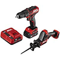 Skil 2-Tool Combo Kit PWRCore 12 Brushless 12V 1/2 Inch Cordless Drill Driver and Compact Brushless Reciprocating Saw