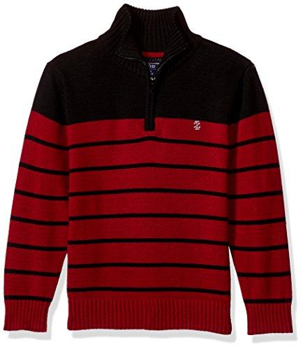 Izod Big Boys' 1/4 Zip Striped Sweater, Black, Small (1/4 Zip Striped Sweater)