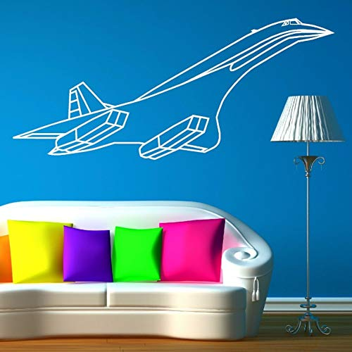 Jet Concorde (Pbldb 57X25Cm Environmental Curved Vinyl Concorde Jet Aeroplane Wall Sticker for Kids Boys Room Art Home Decor Wall Mural DIY Decoration)