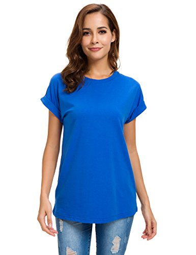 (MSHING Women's Simple Crew Neck Plain Loose T-Shirt Summer Casual Tops Bright Blue)