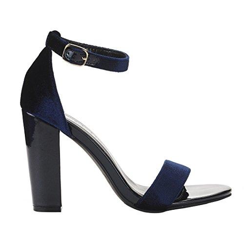 Band Sandals JENN Toe Chunky Party Ankle Blue Pumps High For Open ARDOR Velvet With Heel Strap Women Wedding Single 4qZ04