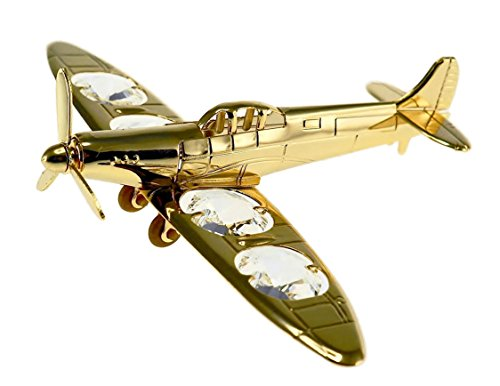 Spitfire Fighter Airplane 24k Gold Plated Figurine with Swarovski Crystals