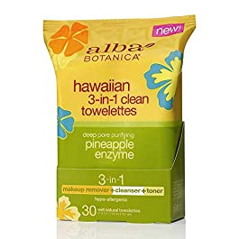 Alba Botanica Hawaiian 3-In-1 Clean Towelettes, Deep Pore Purifying Pineapple Enzyme, 30 Count