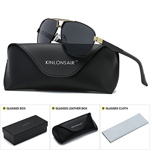 Kinlonsair Men's Polarized Military Style Aviator Sports Sunglasses with UV400 Protection for Driving and Fishing (Gold Frame/Black Lens, - Best Polarized Rated Sunglasses