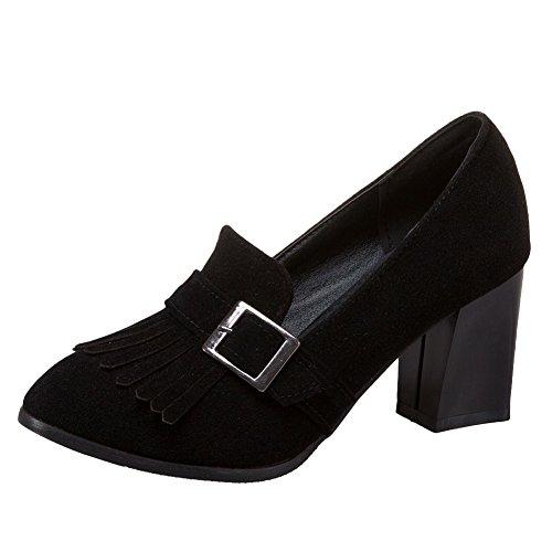 Show Shine Womens Tassels High Heel Slide Pumps Loafers Shoes Black h33rZ3ucK