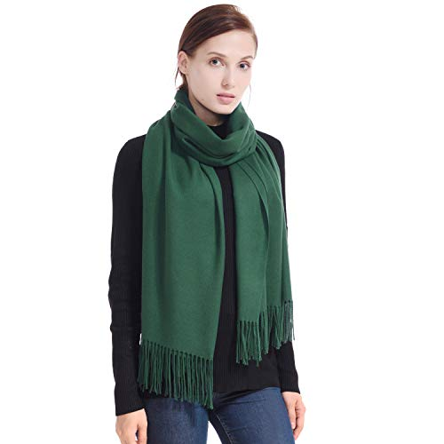 LERDU Ladies Gift Idea Cashmere Scarf Fashion Warm Wool Wrap Shawl Winter Stole for Women Green