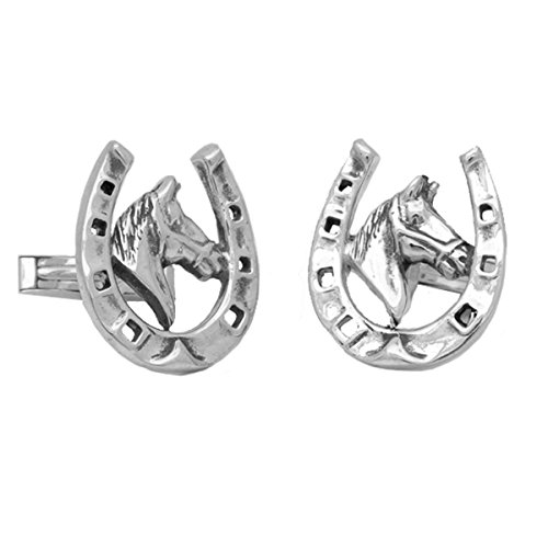 Sterling Silver Horse Shoe Head Cufflinks (Head Sterling Silver Cufflinks)