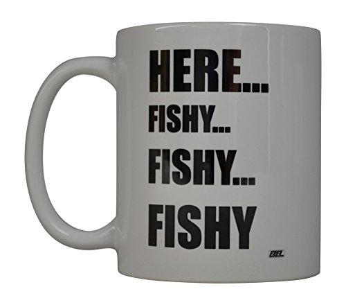 Rogue River Coffee Mug Fishing Fish Here Fishy Fishy Fishy Novelty Cup Great Gift Idea For Men Him Dad Grandpa Fisherman (Here Fishy)