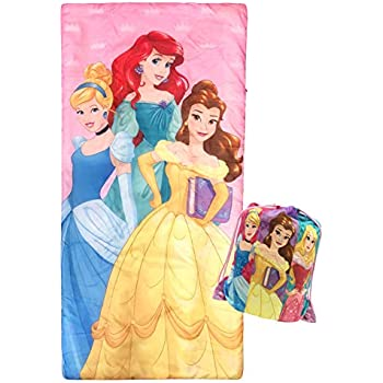 Jay Franco Disney Princess Trip Slumber Sack - Cozy & Warm Kids Lightweight Slumber Bag/Sleeping Bag - Featuring Ariel, Belle, and Cinderella ...