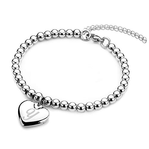Jewelry Kingdom 1 Initial Bracelet for Women Girls A-Z Letters Alphabet Heart Charm Bead Ball Chain Stainless Steel 6mm…