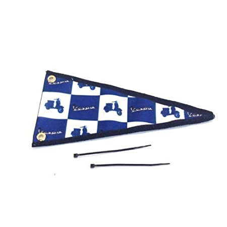 Car Aerial Flag Blue White Checked Vespa Pennant Scooter Ideal Gift