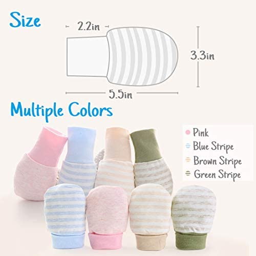 Kalevel 4 Pairs Baby Mittens No Scratch Girl Boy Newborn Gloves with Long Cuff Large Stay On Mittens Warm for Growing Baby 0-12 Months Multicolor Set