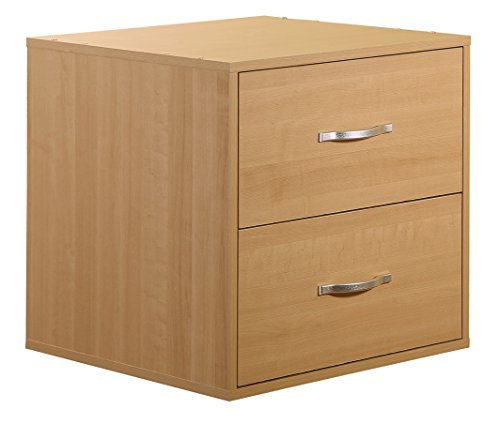 2-Drawer Organizer Cube-Maple