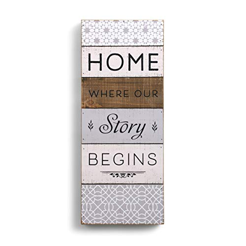 DEMDACO Home is Where Our Story Begins 9 x 22.5 Fir Pallet Wood Painted Wall Art Plaque (Sign Where Your Home Story Is Begins)