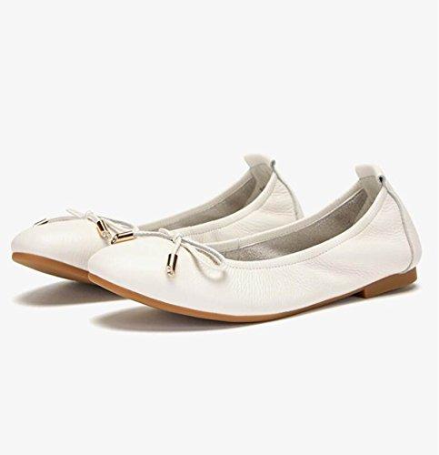 Ximu Nouveau Arc Chaussures Haricot Rond Femmes Chaussures Bateau Confortables Sandales Appartements Loafer Blanc