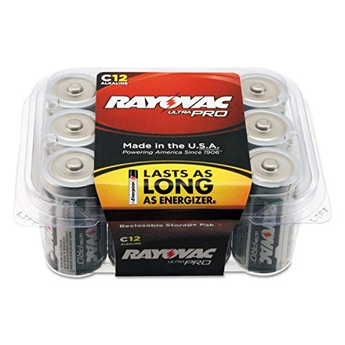Rayovac Batteries ALC-12PPJ UltraPro Industrial Alkaline Battery, C Size, Standard, Black (Pack of 12)