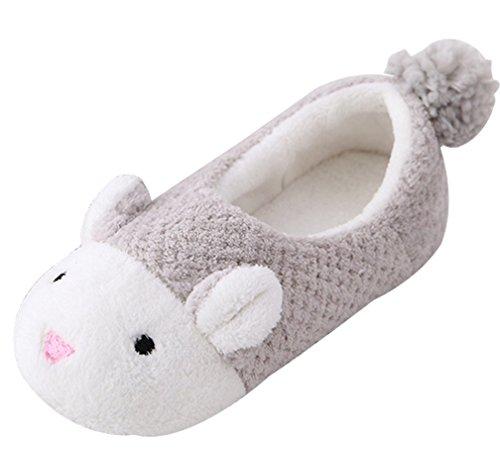 Cattior Dames Schattige Harige Huis Schoenen Bunny Slippers Grijs