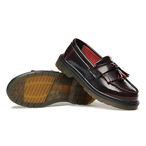 Giy Femmes Gland Oxfords Chaussures À Talons Bas Mocassins Chaussures Classique Confortable Slip-on Chaussures Occasionnel Vin Rouge