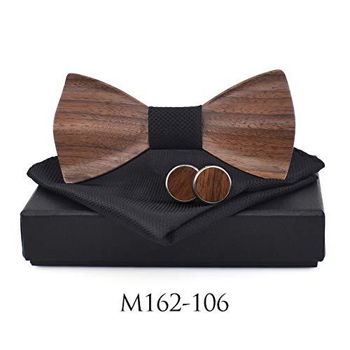 Color: 162106 Graven New 2018 3D Wooden tie Pocekt Square Cufflinks Fashion Wood Bow tie Wedding dinne Handmade corbata Wooden Ties Gravata Set