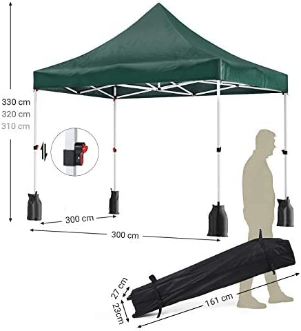 SONGMICS Carpa de 3 x 3 m, con Toldo Anti-UV, Refugio de Fiesta a ...