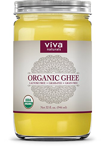 Viva Naturals Organic Ghee 32 oz - from 100% Grass-Fed Cows, Non-GMO, and Certified Paleo Diet Friendly