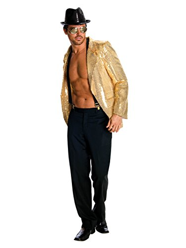 Rubie's Deluxe Men's Gold Sequin Jacket, Gold, X-Large Costume]()