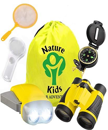 - Adventure Kids - Educational Outdoor Children's Toys - Binoculars, Flashlight, Compass, Magnifying Glass, Butterfly Net & Backpack. Explorer Kit, Great Kidz Gift Set For Birthday, Camping & Hiking