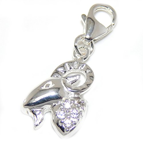 925 Solid Sterling Silver Dangling Clip-on Mountain Goat with Clear Crystals Charm Pendant -