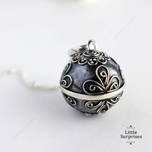 16mm Bali Sterling Silver Oxidized Black Harmony Ball 30
