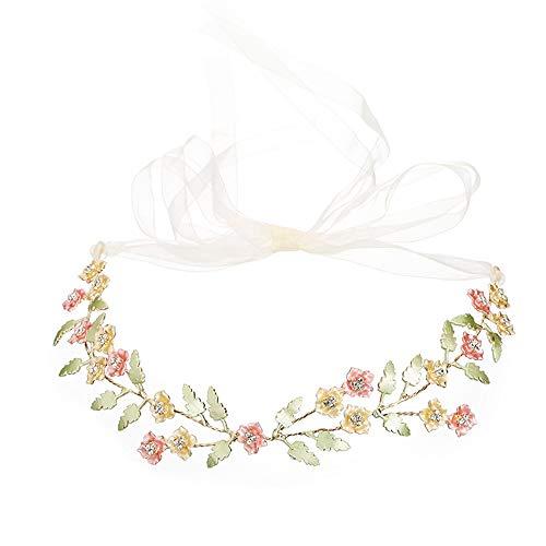 JUZEN Garland Headband Hair Band Bridal Hair Accessories Color Water-Studded Drill Accessories Wedding Bridesmaid Flower Girl Hair Band Dress Accessories Headband ()