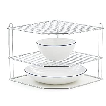 Super Lakeland Corner 2 Tier Plate Rack Stand - Chromed Steel: Amazon.co  ZP35