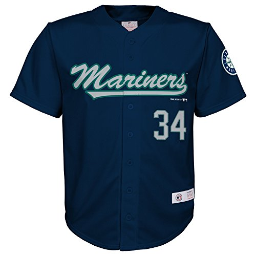 MLB Seattle Mariners Boys Player Hernandez Fashion Jersey, Athletic Navy, 12/14