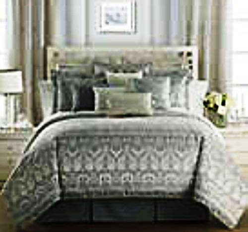 Waterford Linens Allure Reversible King Comforter Set in Slate Grey