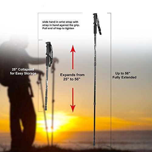 KevenAnna 2 Pack Trekking Poles, Adjustable Height Anti Shock Ultralight Walking Stick for Outdoor Walking Trekking Climbing, 1 Pair