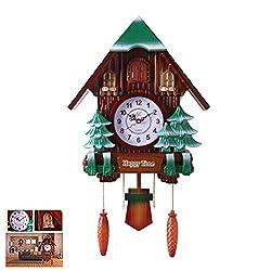 NANANA Vivid Cuckoo Clocks for Living Room Decor, Traditional Chalet Pendulum Quartz Handcrafted Wooden Wall Cuckoo Clock, 37X63 cm,a