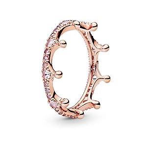 Pandora Jewelry Pink Sparkling Crown Crystal Ring in Pandora Rose