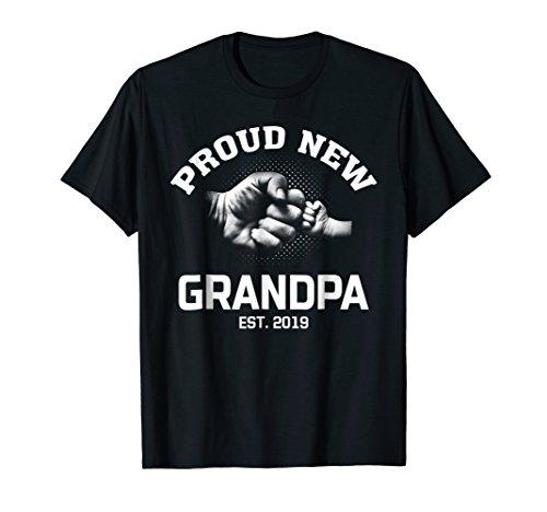 Mens Proud New Grandpa EST 2019 Gift Shirt Father's ()
