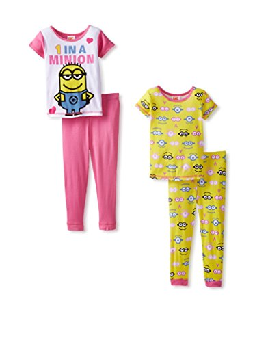 Despicable Me Little Girls' 1 in A Minion 4-Piece Pajama Set, Multi, 4