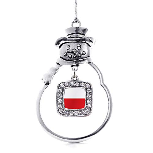 (Inspired Silver - Poland Flag Charm Ornament - Silver Square Charm Snowman Ornament with Cubic Zirconia Jewelry)