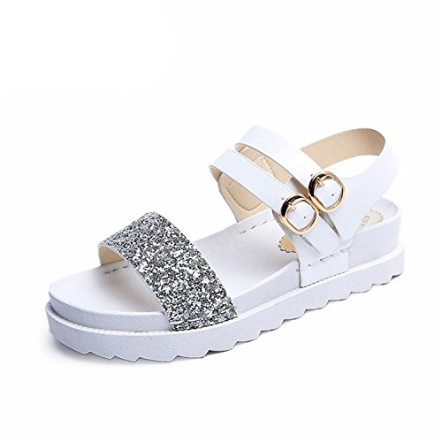 Ankle Sandals Shoes Pu Women Women Sandals Strap Summer Perfues Girls Flats Platform Slides White Casual gqpwIxORw