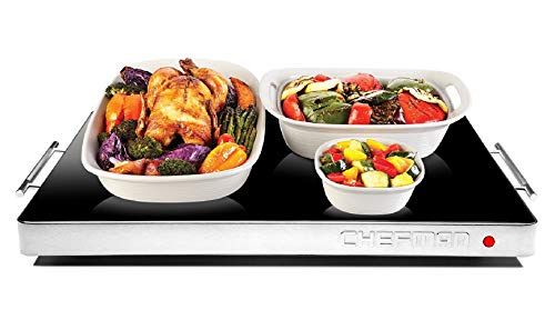 "Chefman Electric Warming Tray with Adjustable Temperature Control, Perfect For Buffets, Restaurants, Parties, Events, Home Dinners, Glass Top Large 21"" x 16"" Surface Keeps Food Hot - Black (Renewed)"