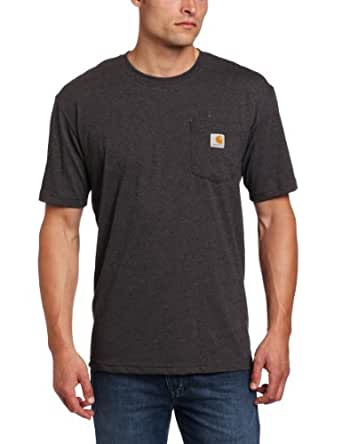 Carhartt Men's Contractors Work Pocket Short Sleeve T-Shirt Relaxed Fit,Carbon Heather  (Closeout),Small