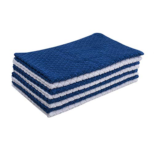 (Nirisha Cotton Terry Kitchen Towel - 8 Pack - Royal Blue - 25 x 15 Inches - 400 GSM - 100% Ringspun 2 Ply Cotton - Diamond Weave - Soft & High Absorbent)