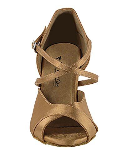 Very Fine Ballroom Latin Tango Salsa Dance Shoes for Women 2828LEDSS 3-Inch Heel + Foldable Brush Bundle Brown Satin WEE8mzP