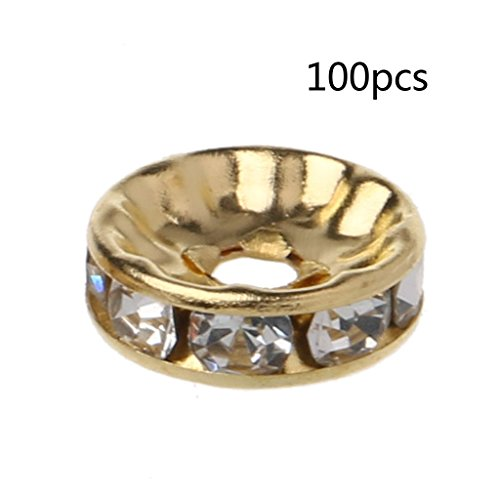 Lamdoo 100PCS Clear Crystal Rondelle Spacer Beads Gold Sliver Tone for Jewelery Making Gold