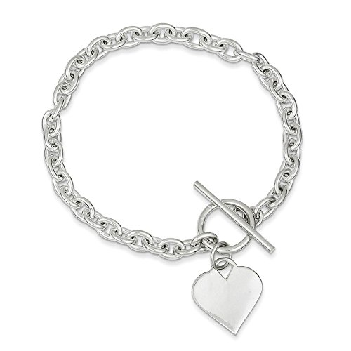 Sterling Silver Heart Toggle Bracelet 8 Inches (0.71 Inches Wide) - 8in Toggle Bracelet