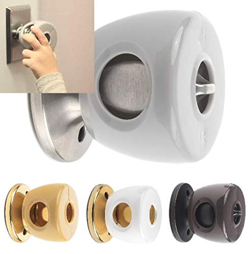UnaBaby - Silver/Grey Door Knob Safety Cover - Choose 1 of 4 Colors Available - Beautifully Designed To Blend With Doorknob Color - 4 Pack (All Grey) - Child Proof Doors - Toddler and Baby Safety