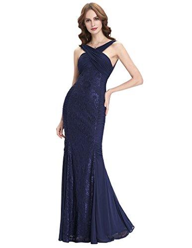 Women Lace Formal Dress Sleeveless Fishtail Pleated Homecoming Dress
