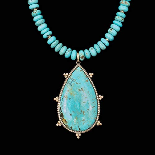 Stabilized Sleeping Turquoise Beauty - Diamond, Sleeping Beauty Turquoise, 14k Gold Accent Necklace - 16 inches Long Handmade Necklace by Miller Mae Designs
