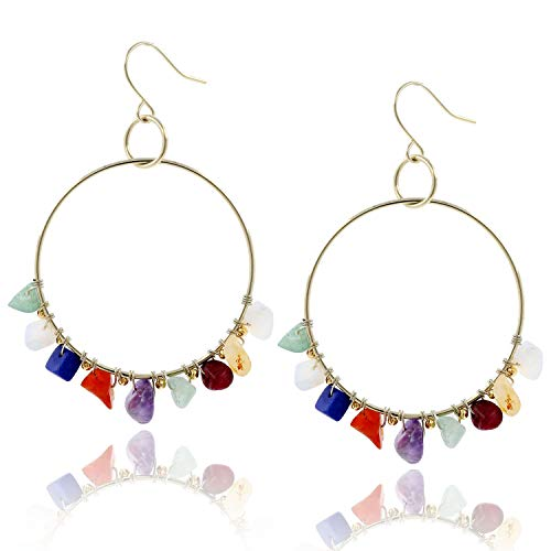 BOUTIQUELOVIN 14K Gold 7 Chakra Big Hoop Earrings Raw Stone Crystals Hook Drop Earring for Girls Women